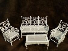 vintage metal WHITE TABLE & CHAIRS Dollhouse Furniture