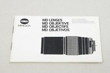 Minolta MD MC Lens Guides Guides voir photos 13x9cm