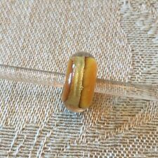 Authentic Trollbeads Power Chakra 62003 with Continuous Gold Stripe, New