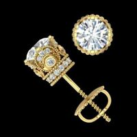4Ct Round Moissanite Screw Back Solitaire Stud Earrings 14K Yellow Gold Finish