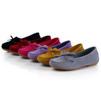 New Womens Bow Knot Moccasin Suede Slippers Slip On Round Toe Flat Shoes Loafers