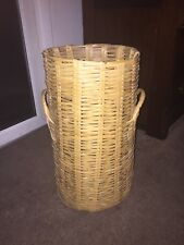 Antique Japanese Bamboo Basket Tall Double Handle