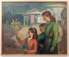 """Kunst in der DDR, Walter MEINIG, Ölgemälde """"Auf dem Rummelplatz"""", 1950, signiert"""