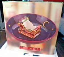 Susan Winget Large Christmas Memories Sleigh Ride Collection CHIP N DIP Bowl IOB