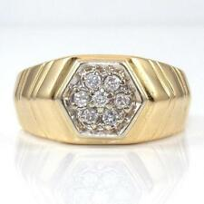 14K Yellow Gold Natural Diamond Cluster Men's Ring Size 10.5 LQ3-G