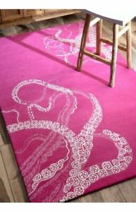 Octopus Tail Pink 5'x8' Modern Style Handmade Tufted 100% Woolen Rugs & Carpet