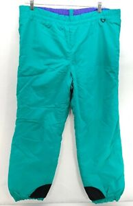 Vintage Columbia Mens Sz L Green Teal Ski Winter Snow Snowboard Pants Neon