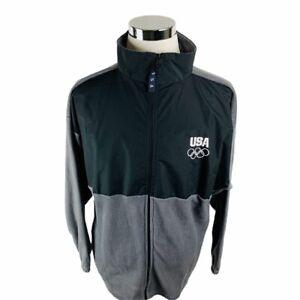 USA Olympic Committee Full Zip London Games Gray Fleece Jacket Men's XL X-Large