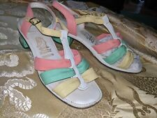 Hush Puppies VINTAGE '60's pastel strappy sandals sz 8 pink yellow green