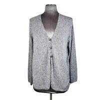 Sigrid Olsen Women's Black White Heathered Button Front Cardigan Sweater Size L