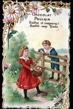 IMAGE CHROMO découpis CHOCOLAT POULAIN / FLEUR MARGUERITE / ENFANT & CHATONS