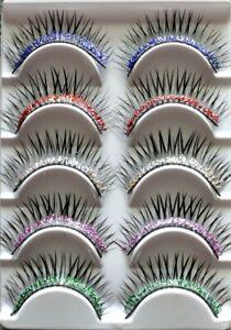 5 pairs Multi-Colored GLITTER Long False Eyelashes Fake Extension Natural Bulk