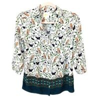 Maeve Anthropologie Woodland Walk Owl & Butterfly Blouse Womens Size 2