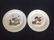 """Vintage James Kent England Nursery Rhyme Baa Baa Black Sheep+Dog Cat 7"""" Plates-2"""