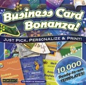 Business Card Bonanza  10,000 Ready-to-use Designs  Win XP Vista 7 8 10  NEW