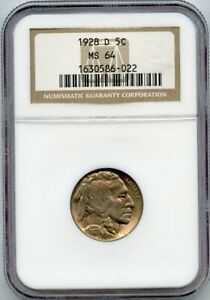 1928-D Buffalo Nickel 5c NGC MS 64