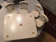 Vintage 5 piece Painted Wooden Baby Doll Table & Chairs, Cute!