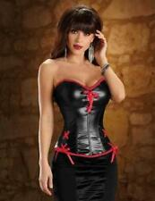 Red/Black Corset Shiny Faux Wet Look Smooth Satin Vinyl Lingerie Lace Up S-XL US