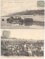 2 CPA LE HAVRE - PECHE AUX MOULES ET PECHE AUX CRABES EN 1900