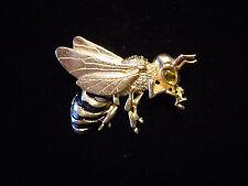 """JJ"" Jonette Jewelry Gold Pewter 'Big EYE Bee' w/Black Stripes Pin"