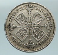 1929 United Kingdom Great Britain GEORGE V Silver Florin 2 Shillings Coin i84585