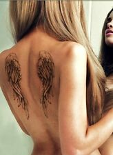 TEMPORARY DARK ANGEL WINGS VICTORIAN GOTHIC CROSS SPLENDOUR TATTOO