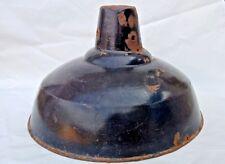 BIG SIZE VINTAGE ORIGINAL OLD IRON PORCELAIN ENAMEL RARE JET BLACK LAMP SHADE