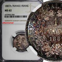 FRANCE Silver 1887 A 1 Franc NGC MS62 NICE RAINBOW TONING KM# 822.1