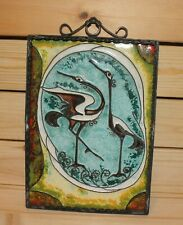 Vintage abstract hand made wall hanging enamel metal plaque storks