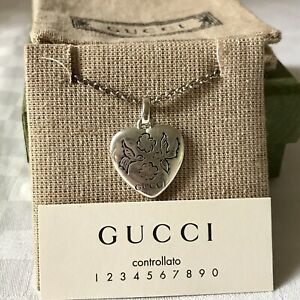NIB Gucci Blind For Love Sterling Silver Heart Pendant Necklace. Made In Italy