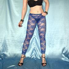 dunkelblaue SPITZEN LEGGINS* S  stretchig weiche Leggings* transparente Hose