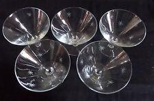 5 Vintage Etched Starburst Stemmed Champagne Sherbert Crystal Glasses
