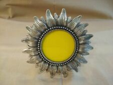 """Pewter-like small round sunflower picture frame 2 3/8""""opening"""