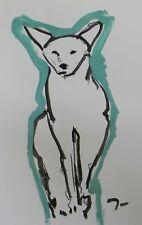 JOSE TRUJILLO - Large Acrylic Painting New Art Original 26x40 Blue Fox Coyote