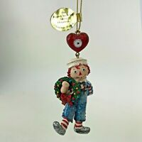Danbury Mint Raggedy Ann and Andy Glitter Ornament Christmas Wreath Andy