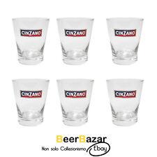 Servizio 6 bicchieri Cinzano vetro vermut tumbler Campari 25 cl bar collezione