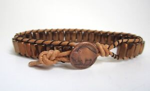 Mens Magnetic Natural Leather Copper Magnetic Bracelet with Buffalo Button