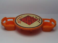 VINTAGE Fisher Price Little People #728 HOUSE ORANGE CHECKERS TABLE & CHAIRS