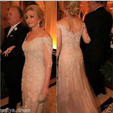 2017 Long Elegant Beaded Evening Dress 3/4 Sleeve Party Prom Gown Custom Made