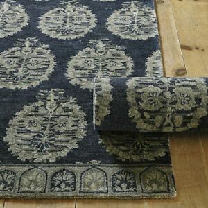 Ballard Designs 9' x 12' Jardine Blue Handmade Tufted 100% Woolen Rugs & Carpets
