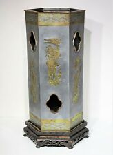 Antique Chinese Pewter Vase Hat Stand w Brass Inlay