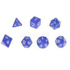 NEW Multi-Sided Dice 7pcs/set TRPG Dungeons & Dragons D4-D20 Play Games Blue
