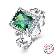 Men Women Jewelry Emerald & White Topaz 100% S925 Sterling Gemstone Silver Rings