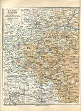 Carta geografica antica POZNAN Posen POLONIA POLSKA 1890 Old antique map