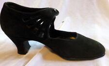 Vintage 1910s -20s Black Suide Shoes Size 5 Edwardian Art Deco
