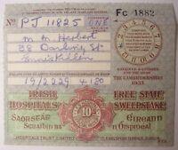 Irish Free State Hospitals Sweepstake Ticket Counterfoi THE CAMBRIDGESHIRE 1933