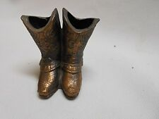 vintage double / pair of cowboy boots toothpick holders pop metal / copper vase