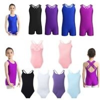 Kids Girls Gymnastics Ballet Dance Leotards Sports Jumpsuit Dancewear Bodysuits
