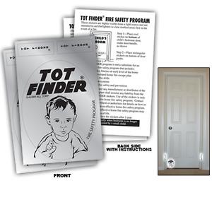 2 Pack Tot Finder Door Decals Help Firefighters Find Children Inside Home - 600F
