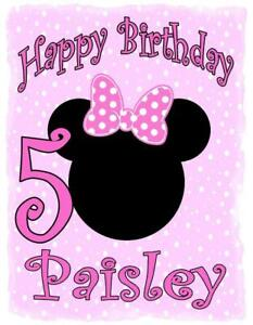 MINNIE MOUSE BIRTHDAY T-SHIRT Personalized Any Name/Age/Family Toddler- Adult